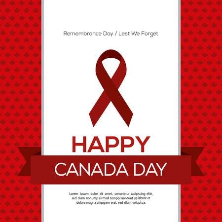 commemoration: Colored background with a ribbon with text and a peace symbol for canada day celebrations