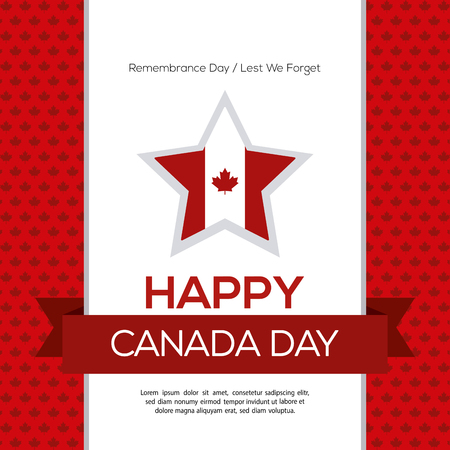 canadian flag: Colored background with a ribbon with text and a star with the canadian flag Illustration