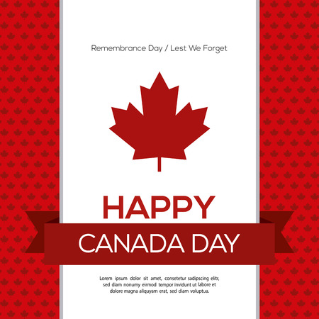 commemoration: Colored background with a ribbon with text and a maple leaf icon for canada day celebrations