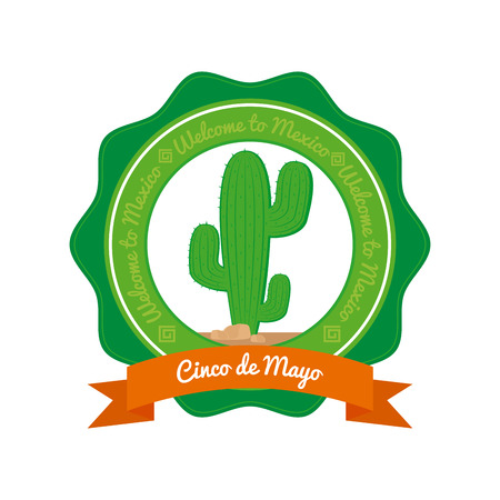 commemorative: Isolated banner with a ribbon with text and a cactus Illustration