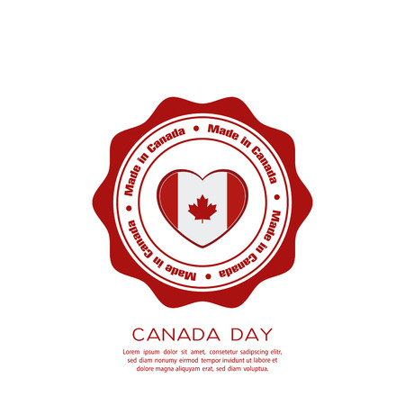 canadian flag: Isolated banner with text and a heart with the canadian flag Illustration
