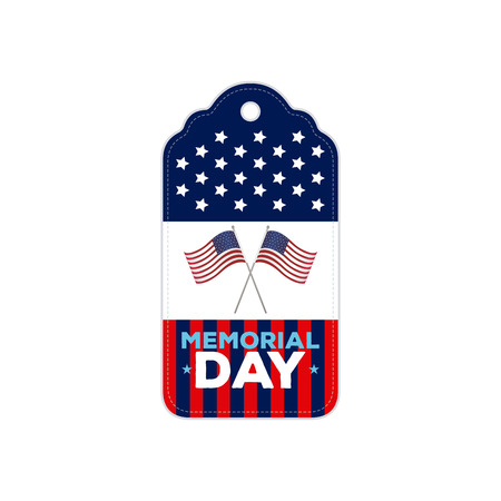 pair: Isolated banner with stars and a pair of american flags