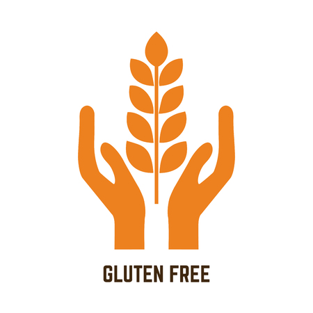 gluten: Isolated pair of hands holding gluten for gluten free products Illustration
