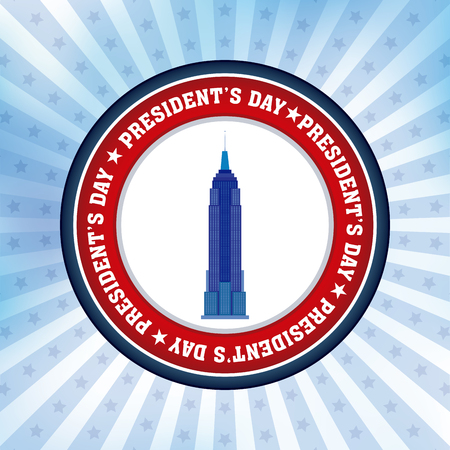 presidents: Colored background with a banner with text for presidents day Illustration
