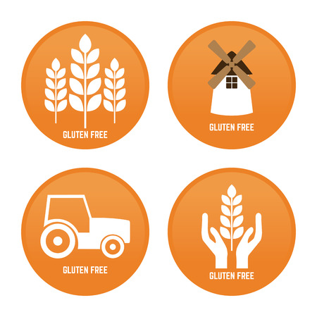 vehicle symbol: Set of labels with text and different icons for gluten free products