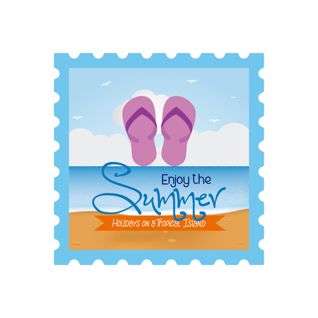 sandals isolated: Isolated sticker with a pair of sandals and text on a white background