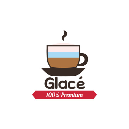 glace: Isolated glace coffee icon with a ribbon with text