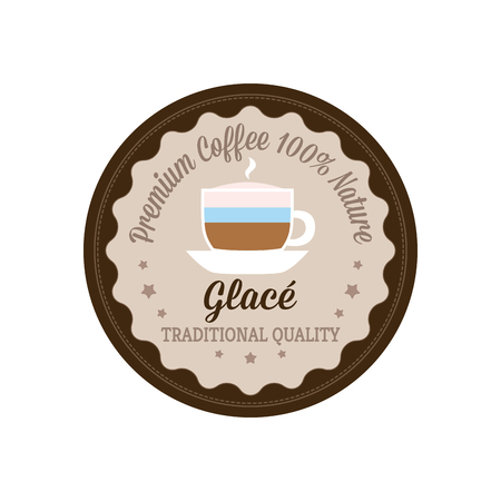 glace: Isolated banner with text and a glace coffee icon on a white background Illustration