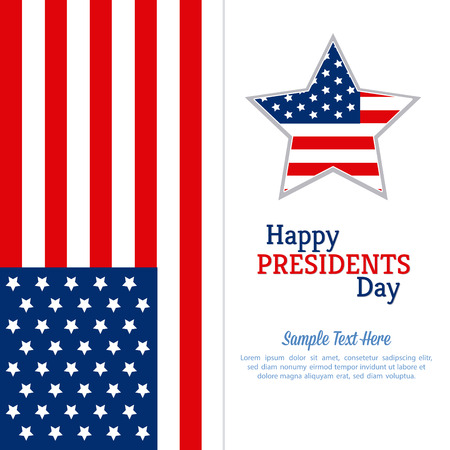 presidents: Colored background with text and a star for presidents day Illustration