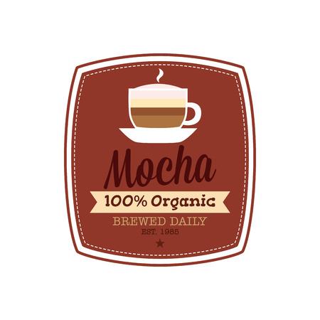 mocha: Isolated banner with text and a mocha coffee icon on a white background Illustration