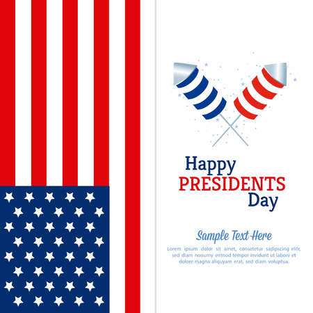 presidents: Colored background with text and fireworks for presidents day