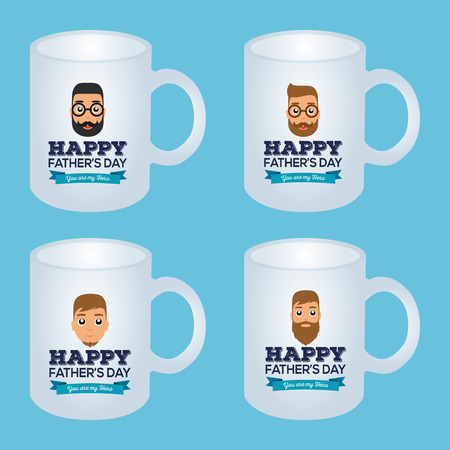 backgrounds texture: Set of coffee mugs with male icons and text for fathers day celebrations