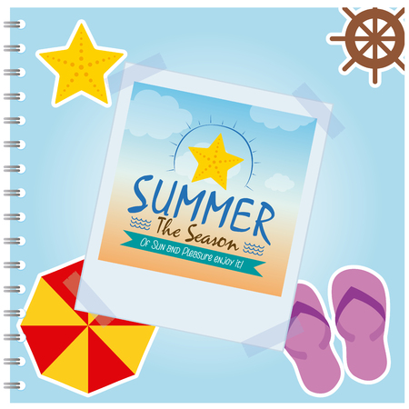seastar: Isolated summer photo of a seastar on a colored background Illustration