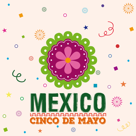 commemorative: Colored background with a traditional mexican flower and text
