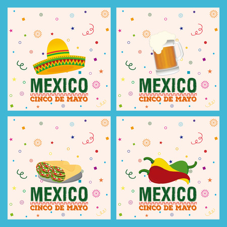 commemorate: Set of backgrounds with text and different traditional mexican objects