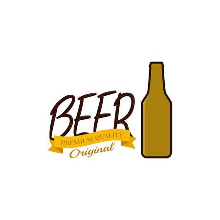 Icono de botella de cerveza aislado y texto sobre un fondo blanco