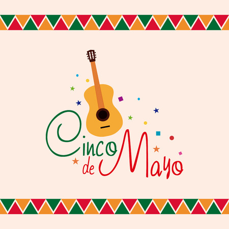 Colored background with a guitar and text
