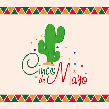 commemorative: Colored background with text and a cactus Illustration