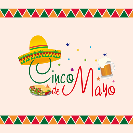 mexican background: Colored background with text and a group of traditional mexican objects Illustration