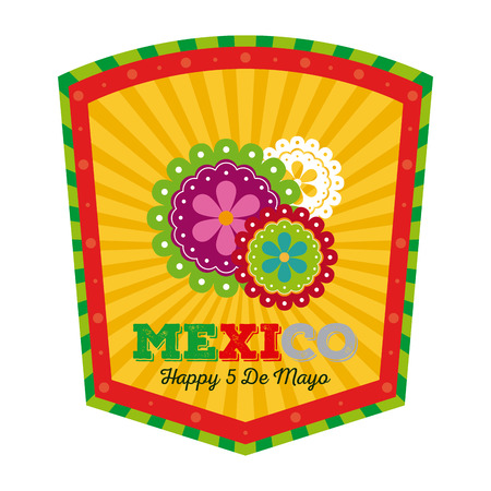 commemorate: Isolated banner with text and traditional mexican flowers Illustration
