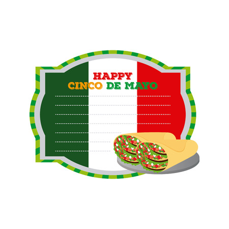 Isolated banner with text and a pair of tacos