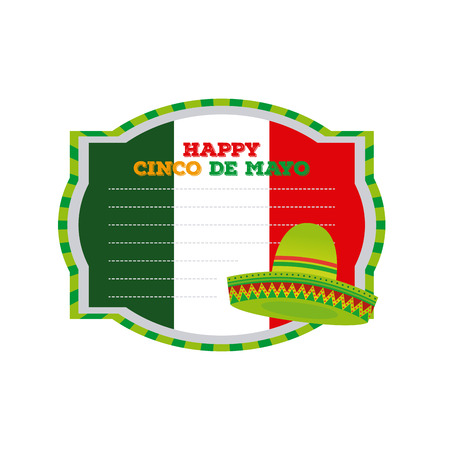 commemorative: Isolated banner with text and a traditional mexican hat Illustration