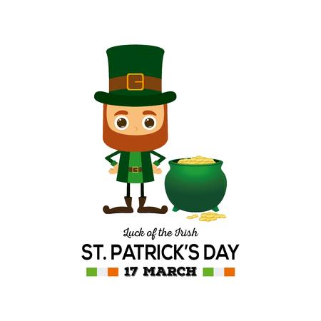 Paisaje Coloreado Con Un Duende Irlandés Y Oro Para El Día De ...