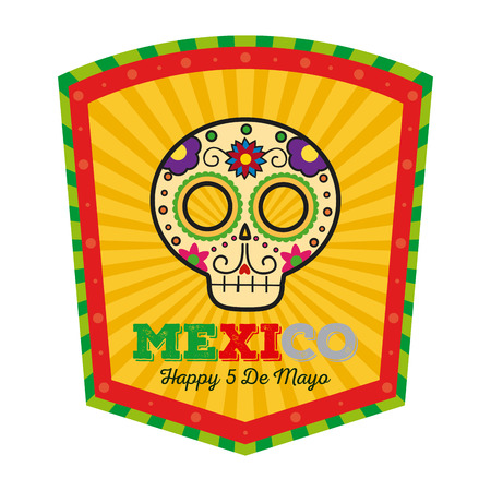 Isolated banner with text and a traditional mexican skull Illustration