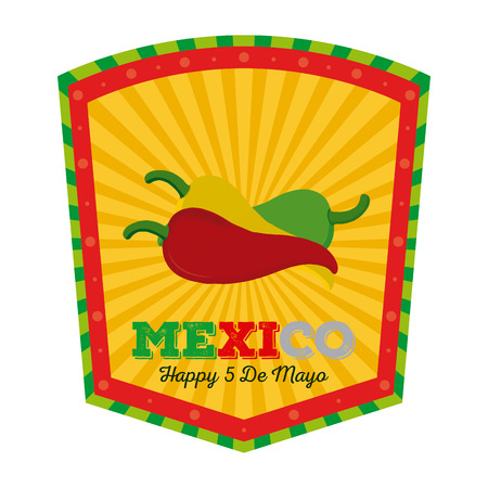Isolated banner with text and a group of peppers