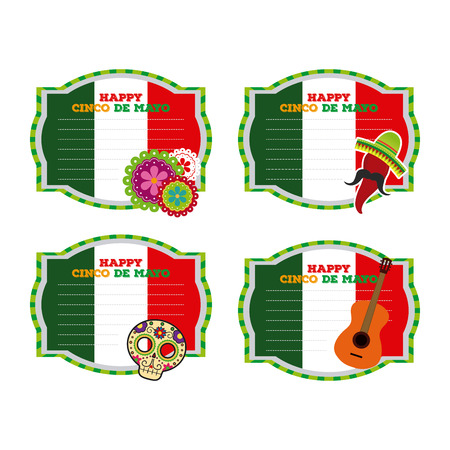 commemorate: Set of banners with text and different traditional objects Illustration