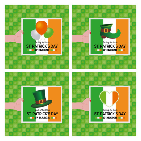 the irish image collection: Set of cards with different objects and text on textured backgrounds