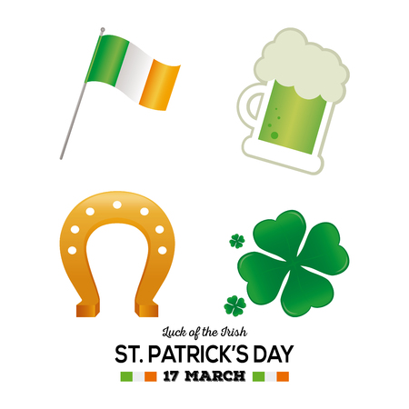 Set of traditional irish objects on a white background with text