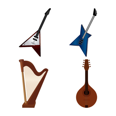 Set of different instruments on a white background Illustration