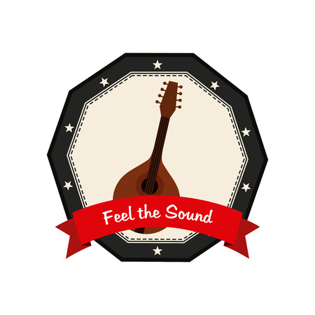 ukelele: Isolated banner with a ribbon with text and an ukelele