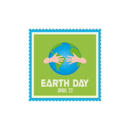pair: Isolated sticker with a pair of hands hugging our planet Illustration