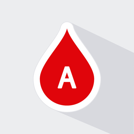 donor blood type: Isolated drop of blood icon with a type of blood on a white background