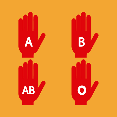donor blood type: Set of silhouettes of hands with different types of blood on a colored background