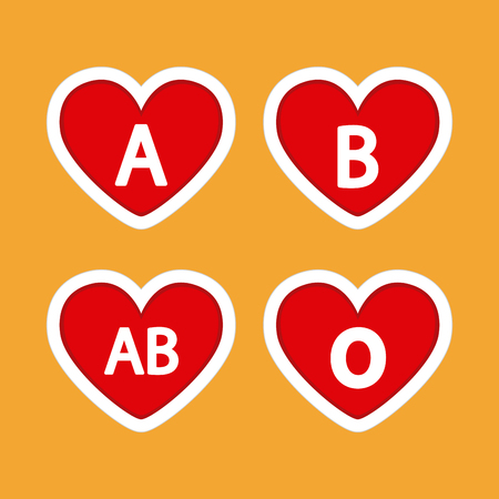 donor blood type: Set of heart shapes with different types of blood on a colored background Illustration