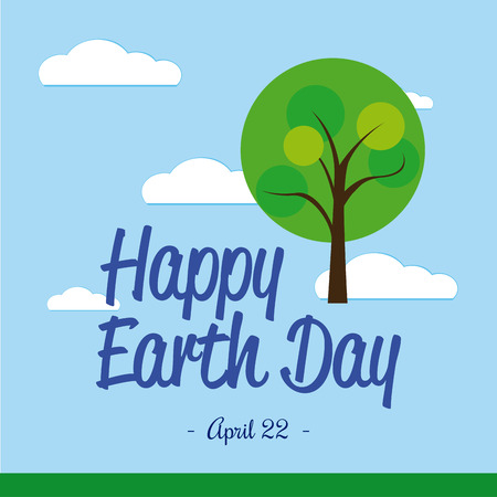 april clipart: Colored background with clouds, text and an abstract tree for earth day Illustration
