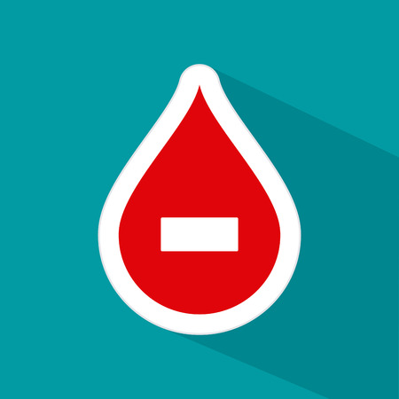 transfuse: Isolated drop of blood with a negative symbol on a colored background
