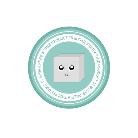 sugar cube: Isolated light blue label with text and a sugar cube icon Illustration