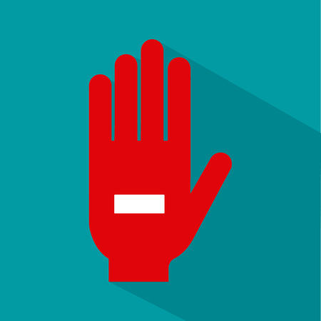 transfuse: Isolated silhouette of a hand with a negative symbol on a colored background Illustration