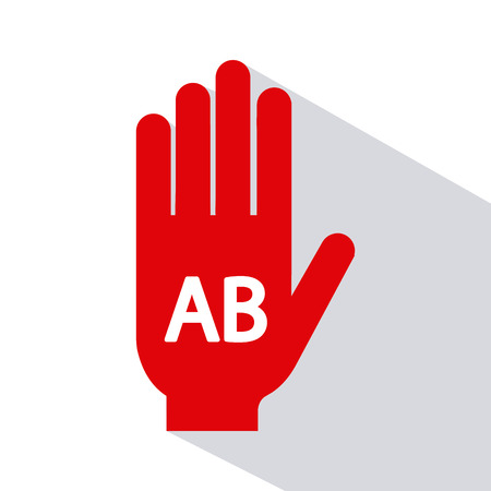 donor blood type: Isolated silhouette of a hand with a type of blood on a white background