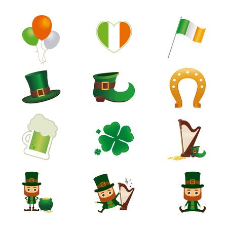 the irish image collection: Set of different saint patricks day icons on a white background