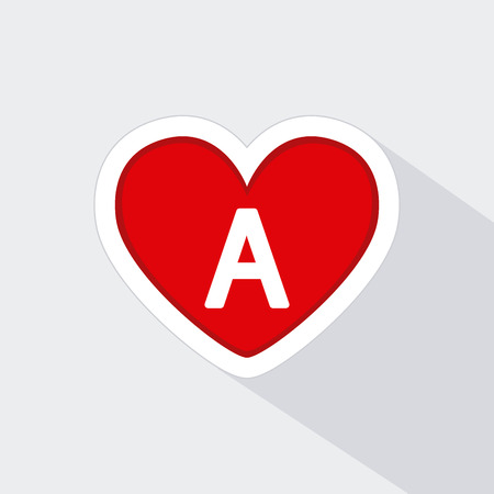 transfuse: Isolated heart icon with a type of blood on a white background Illustration