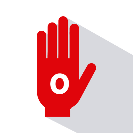 blood type: Isolated silhouette of a hand with a type of blood on a white background