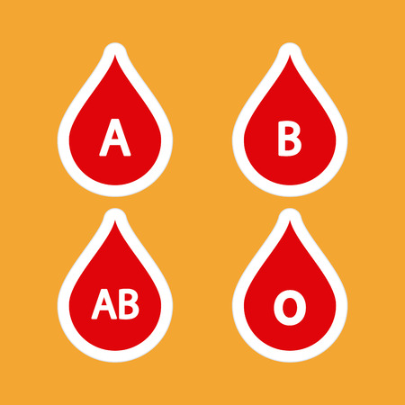 donor blood type: Set of drop of blood icons with different types of blood on a colored background