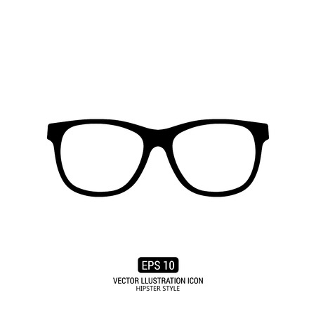 Isolated silhouette of glasses on a white background with text
