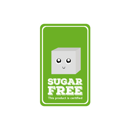 sugar cube: Isolated green label with text and a sugar cube icon Illustration
