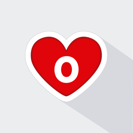 donor blood type: Isolated heart icon with a type of blood on a white background Illustration